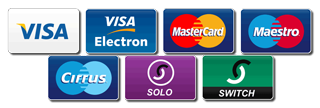 Visa, Visa Electron, Mastercard, Maestro, Cirrus, Solo, Switch - All major credit cards accepted